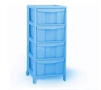 Kommode Aus Kunststoff Mit 2 Rollen 4 Schubladen Farbe Blau Amazon