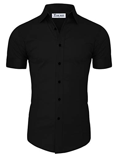 Modern Button - TAM WARE Mens Casual Slim Fit Short Sleeve Button Down Shirt TWFD003-BLACK-US M