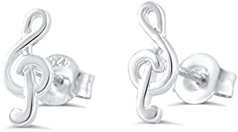"""925 Sterling Silver Musical Note Treble Clef Long Drop Earrings 1.5//8/"""" 41mm o//a"""