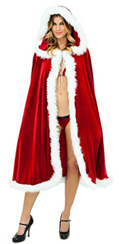 KOESON Christmas Mrs. Santa Claus Cloak Xmas Hooded Cosplay Costume Cappa Cape-L Red -