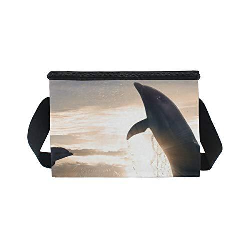 Correa Puesta Fresco Bolsa Más Sol La Delfines La Comida Almuerzo 2 Fiambrera Para El De Del Saltan Hombro Para Campestre awdq1