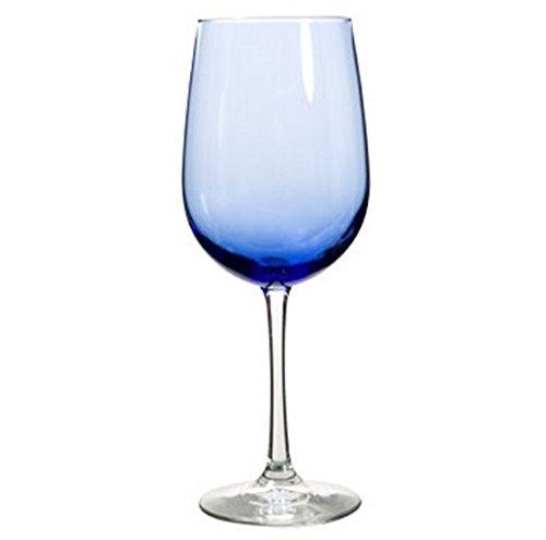 Libbey Vina Mediterranean Blue Stemware Collection, Red Wine Glass Goblet, 18.5 oz