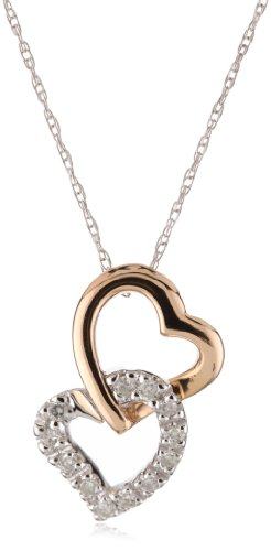 Kobelli 1/10 ct Diamond 14k Rose and White Gold Heart Shaped Pendant Necklace