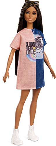 Barbie Fashionistas Doll, Tall with Long Dark Hair, Wearing T-Shirt Dress and Accessories, for 3 to 7 Year Olds