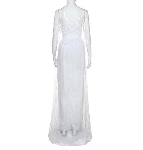 269f25e9f5ff7c ZEZKT☀Weiß Spitzen Abendkleid Langes Party Brautjungfer Damen Kleid ...
