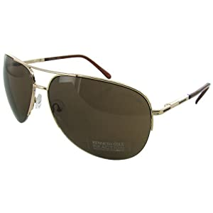Kenneth Cole Reaction Half Rimless Aviator Sunglasses, Gold/Brown