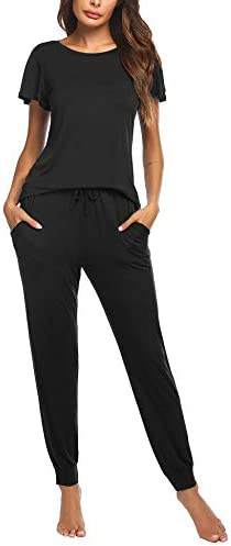 Ekouaer Womens Pajama Pants Sets with Pockets Short Sleeve 2 Piece Lounge Sets Soft Sleepwear Joggers Pjs Sets S-XXL