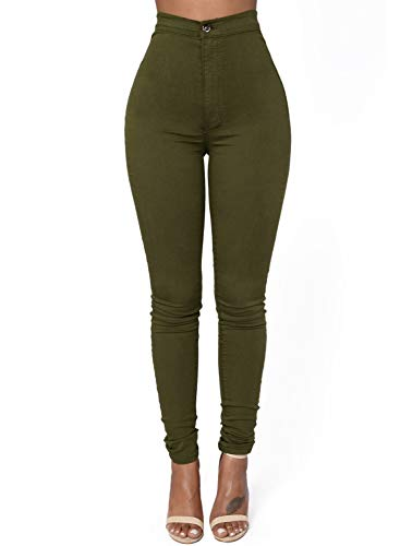 Dokotooo Womens Ladies High Waist Autumn Winter Casual Solid Stretch Ankle Length Skinny Jeans Legging Pants Green Large by Dokotoo