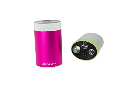 AlohaLake 10400 mAh Rechargeable USB Hand Warmer Battery Charger Flashlight (Hot Pink)