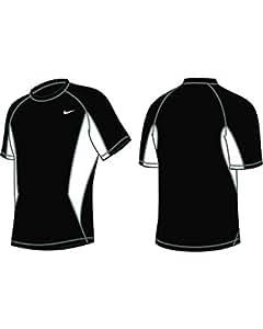 Nike Swim NESS5386 Mens S/S Hydro Top, Black-XXL
