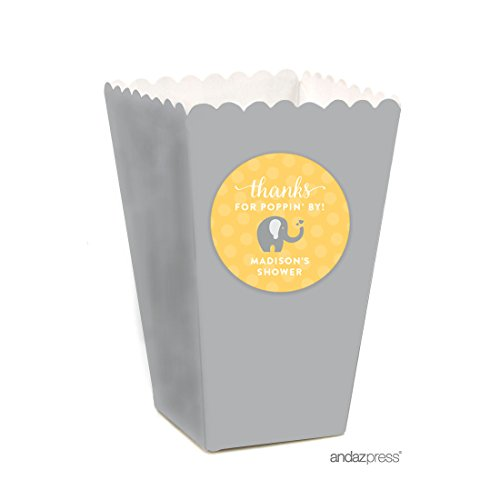 Andaz Press Yellow Gray Gender Neutral Elephant Baby Shower Collection, Personalized Popcorn Box DIY Party Favors Kit, Thanks for Poppin' By! Madison's Shower, 24-Pack, Custom Made (Favor Box Template)