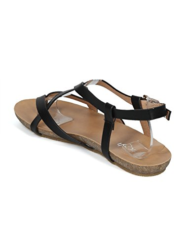Sandalo Piatto Alfisco Da Donna In Pelle Con Cinturino A Strappo - Hh18 By Refresh Collection Similpelle Nera