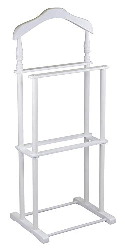Valet Stand in White Wood Coated Metal Legs ()