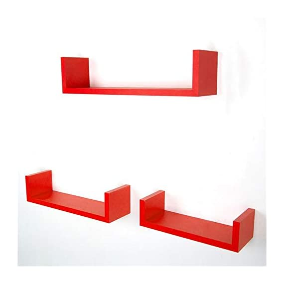 """Anferstore Set of 3 Floating Wall Shelves, Rustic Laminated MDF Floating U Wall Decor Shelves (Red) - These shelves are perfect for displaying your favorite books, collectibles, photos, toys, awards, CD's, videos, decorative items and more Waterproof Coatings: Coated With Quality Paint For Smoother Surface And Better Resistance To Water And Moisture Made of MDF & laminate, it is not real wood, Approximate Dimensions: Large: 17 x 4 x 4"""". Medium: 13 x 4 x 3.5"""". Small: 6.3 x 4 x 3"""". - wall-shelves, living-room-furniture, living-room - 319cr3ciBdL. SS570  -"""