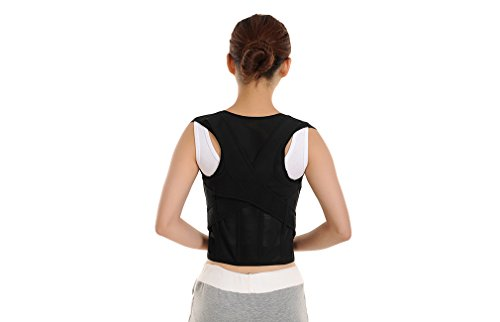 Adjustable Back Posture Corrector Clavicle Support Brace to Improve Bad Posture Relief Upper Back Pain Hunchback Correction for Men Women Kids (BLACK1.0, M) (Bad Men Boy Top Tank)