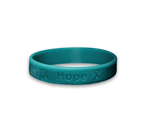 Ovarian Cancer Support (Ovarian Cancer Awareness Teal Silicone Bracelet - Adult Size - (1 Bracelet - Retail))