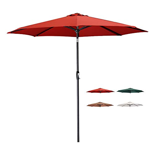 Tempera Patio Umbrella 9 Ft Outdoor Garden Table Umbrella with Tilt and Crank 8 Ribs in Red Canopy