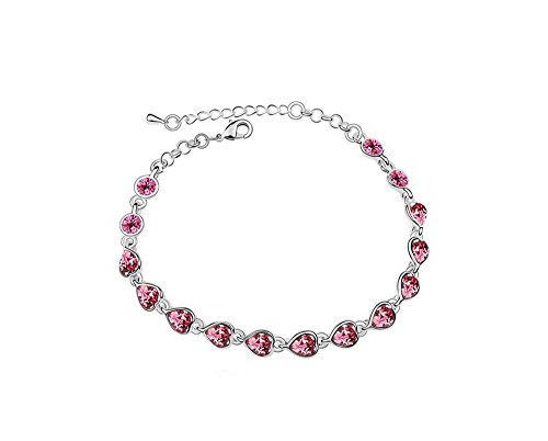 Gimuchy Heart Shaped Corundum Around Clear Zirconia Tennis Bracelet,Austrian Crystal Jewelry for Lady 143 (Pink) (Pink Crystal Austrian Bracelet)
