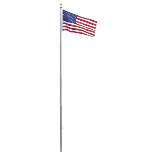 Super Tough Heavy Duty 20ft Residential Flagpole with US Made Valley Forge Nylon Flag