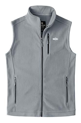 Mens Full Zipper Vest - Wantdo Men's Mountain Fleece Vest Full Zipper Softshell Cycling Light Grey S