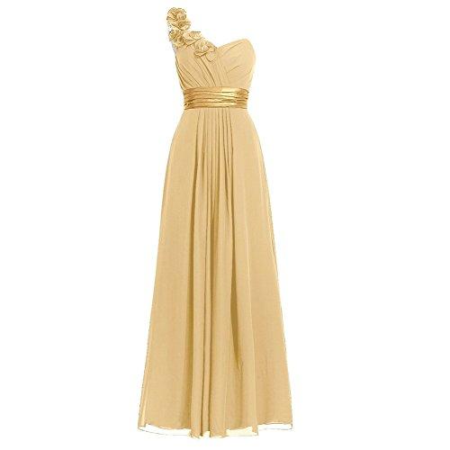 (H.S.D Women's Simple Floral One Shoulder Long Bridesmaid Dresses Prom Gowns )