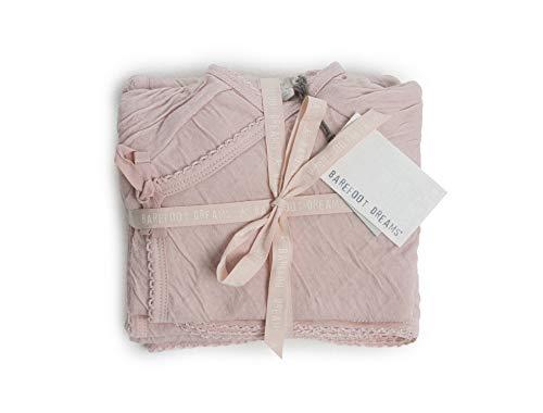 (Barefoot Dreams Bundle Infant 4-Piece Set with Swaddle Blanket, Hat, Long-Sleeve Shirt, Pants, 100% Cotton Pink Blush)