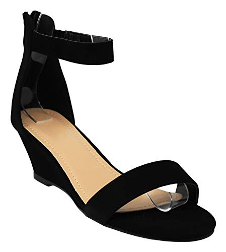 MVE Shoes Women's Open Toe Back Zipper Single Strap Low Heel Wedge Sandal, Joana-5 Black 10