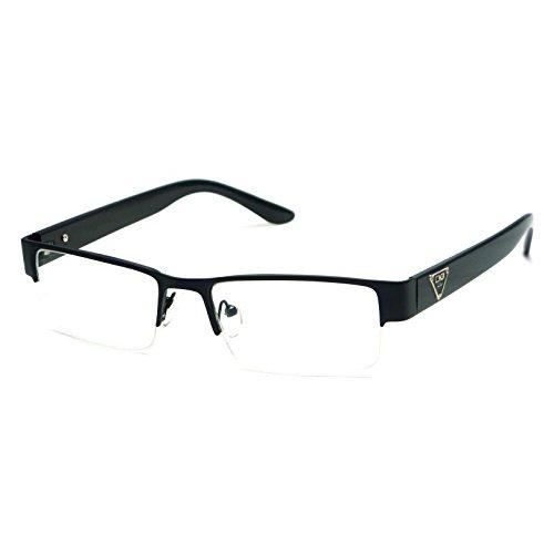 VINTAGE Designer Metal Frame Half Rim Clear Lens Eye Glasses - Glasses Mens 50s