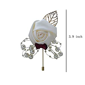 Acharm Groom Rose Boutonniere Corsage for Men, Lapel Pin Brooch for Wedding Flowers Party Decoration-6 Pack Cream 2