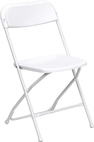 Flash Furniture 10-Pack Hercules Series Plastic Folding Chair, 800-Pound Capacity, Premium White