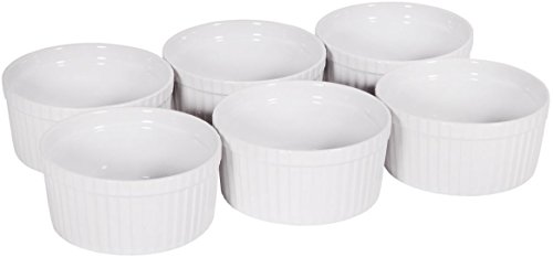 Palais Dinnerware Ramekins Collection Porcelain Soufle Dishes (4 Oz - Set of 6, White - Stripe Finish) - Microwave Safe Porcelain Salt And Pepper Set