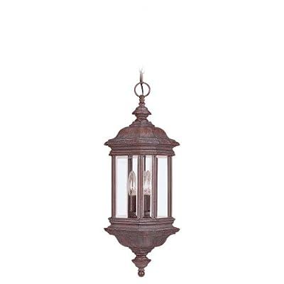 Sea Gull Lighting 3-Light Hill Gate Outdoor Pendant, Clear Beveled Glass