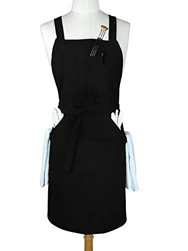 Soft Thick Professional Artist Apron, Cross Back + Fasten/Quick Release Buckle + 6 Pockets + 2 Towel Loops + Hidden Headphone Hole For Artist Kitchen, Adjustable M to XXL, 27