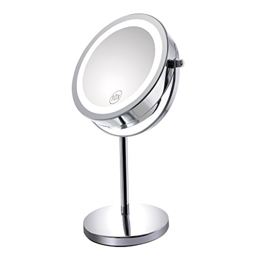 Freestanding Magnifying Mirror (10x Magnified Lighted Makeup Mirror Double Sided Round Magnifying Mirror Standing 360 Degree Swivel Vanity Mirror Battery Operated 7 Inch Diameter Shaving Bathroom Mirror By Gospire)