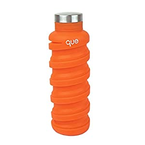 que Bottle - Collapsible Water Bottle. BPA-Free, Leak Proof, Lightweight Travel Bottle. 20oz - Sunbeam Orange