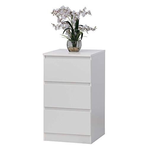 Fineboard FB-DS02-W Storage Dresser with 3 Drawers Universal Organizer Unit, White