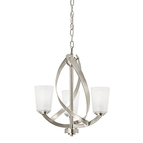 Price comparison product image Kichler Lighting Layla Chandelier 17.2 in 3-Brushed Nickel Finish Etched Shaded Glass