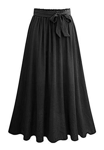 chouyatou Women's Elastic Waist Bow Tie Belted A-Line Swing Midi Long Skirt (Large, ()