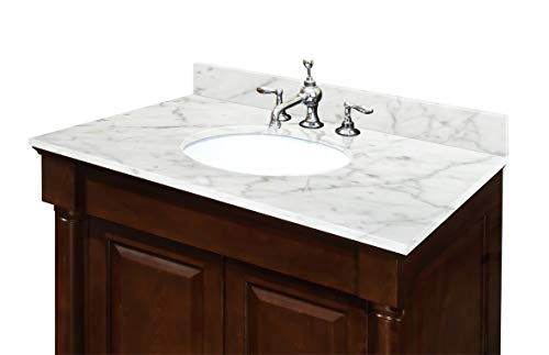 - Sagehill Designs OW4922-CW 49-InchW x 22-Inch D Carrara White Marble Top Pre Mounted White Oval Ceramic Bowl