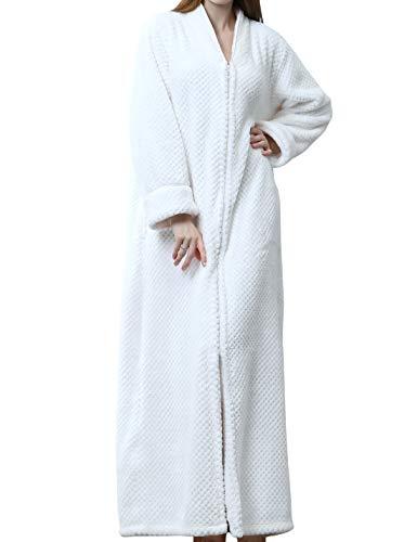 Jenkoon Womens Zipper Front Fleece Flannel Robe Plush Long Warm Bathrobe Loungewear with Pockets (White, Medium)