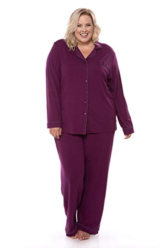 e775428bce Galleon - Women s Button-Up Long Sleeve Pajamas - Sleepwear Set By Texere  (Classicomfort