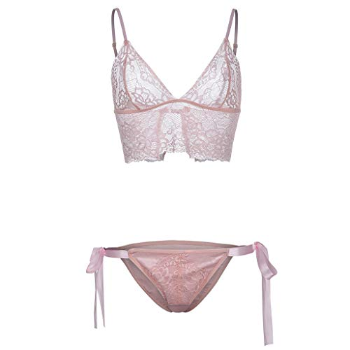 (Peigen Women Bra Lingerie 2 Piece Lace Babydoll Sexy Bralette Panty Set,New Trim Hollow Openwork Sexy Perspective Set Underwear)