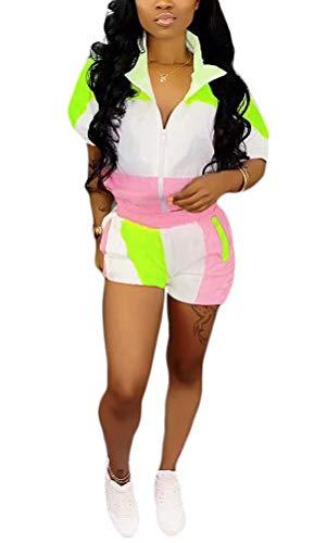 Women 2 Piece Tracksuits Color Block Coat and Short Leggings Outfits Set Sports Suit Activewear GreenPink XL