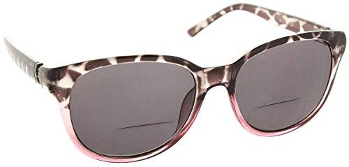 Womens Bifocal Sun Reader Sunglasses Fashion Trendy Readers Reading Glasses [Black/Pink, 3.00]