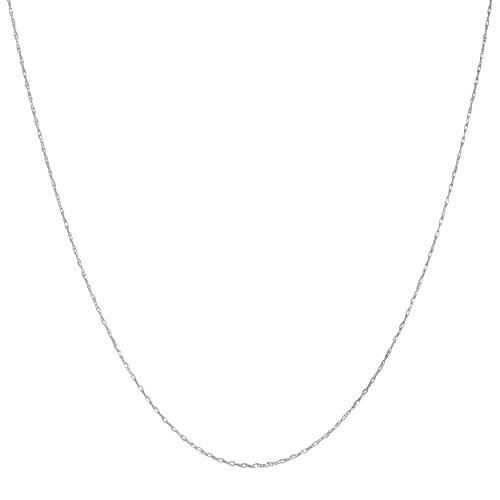 Ladies Gold Chains (Solid 14k White Gold 0.7mm Thin Rope Chain (18 inch))