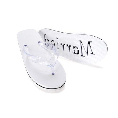 Just Married Flip Flops, Large, White (Just Married Wedding Flip Flops)