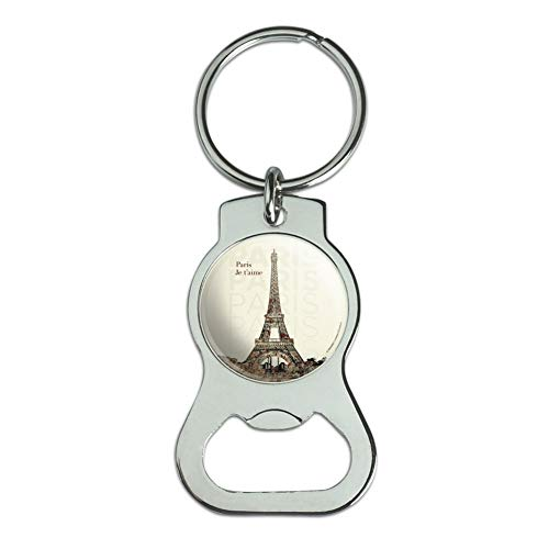 Graphics and More Paris, Je T'Aime I Love You Eiffel Tower City Map Keychain with Bottle Cap Opener