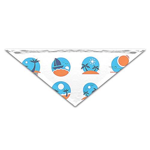 OLGCZM Summer Beach Icon Pet Dog Cat Puppy Bandana Triangle Head Scarfs Accessories
