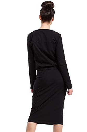 Goldenen Clea Kleid mit Schwarz Druckknöpfen gBEwTSn