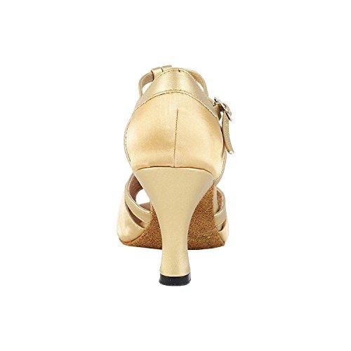 Scarpe Da Ballo Molto Belle 2707 (grado Da Competizione) 2.5 Tacco 2707- Raso Marrone Chiaro E Oro Chiaro